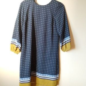 Ann Taylor Blue Tunic Yellow accents (Size 8)